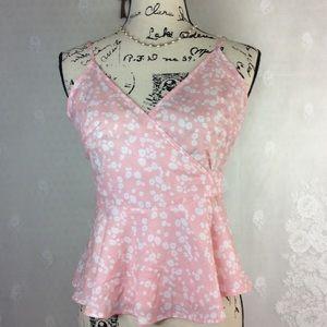 Shien Pink White Floral Strappy Wrap Peplum Top XS